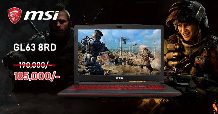 MSI Gaming laptop GL63 8RD i5-8300H/ GTX1050Ti 4GB/8GB/1TB/W10 Rs.185,000 Rs.185,000 online or winsfot Unity plaza